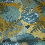 besch. Baumwolle: NARA ... blumige Kreise .. türkis/blau/grün-Töne