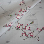 Baumwolle: Au Maison - Birdcage / Vogelkäfig + Blumenranken - toffee - METERWARE