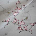 Baumwolle: Au Maison - Birdcage / Vogelkäfig + Blumenranken - toffee - AUSVERKAUFT