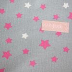 besch. Baumwolle - Sterne grau - pink/weiß - AUSVERKAUFT