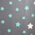 besch. Baumwolle - Sterne grau / türkis - 1,6 m breit RESTMENGE