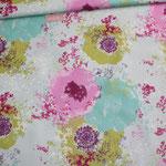 besch. Baumwolle  - weiß mit großen Blumen - RESTMENGE