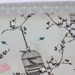 besch. Baumwolle (PVC) AU Maison - Birdcage verte  - AUSVERKAUFT