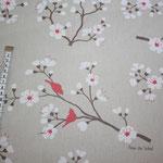 besch. Baumwolle- Kirschblüte - natur / koralle