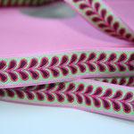 Blätterband - rosa - Muster in den Farben pink, grün + brombeere - 15 mm - Design: Franca Tack - EUR 2,50/m
