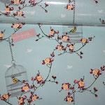 besch. Baumwolle (PVC) Au Maison - Birdcage - aqua sky - AUSVERKAUFT