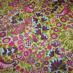 besch. Baumwolle (Acryl) - Blumen + Vögel grüngrundig