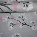 .. hier OBEN ausverkaufter Kirschblüten-Stoff zu sehen UNTEN Neu Kirschblüte mit altrosa-farbenen Vögeln