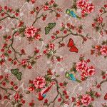 besch. Baumwolle (PVC) - Blumen / Rosen / Schmetterlin / Vögel ..Pip - beige