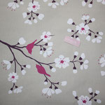 besch. Baumwolle  - Kirschblüte natur / pink-fuchsia - AUSVERKAUFT !!!