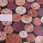 besch. Baumwolle (80% BW + 20% PL - Acryl) - PICABO - Weinkorken + Jahreszahlen rot/rosa/natur