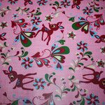 besch. Baumwolle (PVC) - Reh Retro Rosa