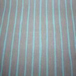besch. Baumwolle (Acryl) - sand mit türkis Streifen