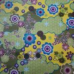 besch. Baumwolle (PVC) - Blumen Fantasie grün