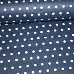beschichtete Baumwolle - dunkelblau mit kleinen weißen Punkten