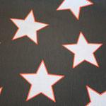 besch. Baumwolle Au Maison (PVC): STAR GIANT - Sterne GIANT charcoal (= grauschwarz) / weiß / NEON  - RESTSTÜCK ca. 40 cm