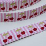 Kirschen auf rot/weiß gestreiften Grund - Design: Franca Tack - 15 mm breit - EUR 2,20/m