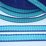 Blätterband - blau - Muster in den Farben türkis, hellbau + grün - 15 mm - Design: Franca Tack - EUR 2,50/m
