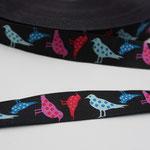 Punktevögel - schwarzgrundig - Design: Steffi Mitzscherling - 15 mm breit -EUR 1,90/m AUSVERKAUFT