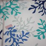 besch. Baumwolle : Koralle -  blau / türkis ... - weiß - RESTMENGE