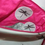 .. Inneneinblick in die Haupttasche .... besch. BW Luisa in pink + Libellen-Applis + ...