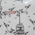 besch. Baumwolle (PVC) Au Maison - Birdcage charcoal / ice green - weißgrunidg - RESTMENGE