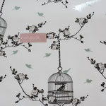 besch. Baumwolle  AU Maison - Birdcage charcoal / ice green - weißgrundig AUCH ALS COATED ERHÄLTLICH !!!