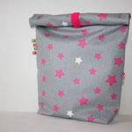 besch. Baumwolle - FdS - grau mit Sternen pink / weiß