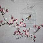 besch. Baumwolle Au Maison (PVC): Birdcage / Vogelkäfig toffee