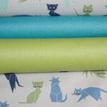 .. hier sind die Katzen mit den Luisas in türkis +  kiwi grün zu sehen .. nicht farbidentisch, aber kombifähig :)