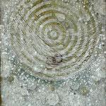 Ariadnes Faden #01, Asphalt, Acryl, Wachs, Ölkreide, Leinwand, 90 x 70 x cm