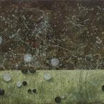 Zeiträume #05, Asphalt, Acryl, Wachs, Ölkreide, Leinwand, 80 x 100 cm