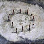 Es beginnt oder endet  #02, Asphalt, Acryl, Wachs, Ölkreide, Leinwand, 80 x 120 cm