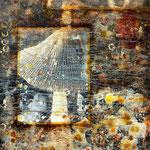 The night dances #03, Asphalt, Acryl, Wachs, Pigmente, Fotografie auf Leinwand, 115 x 75 cm