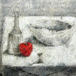 Stilleben #01, Asphalt, Acryl, Wachs, Ölkreide, Leinwand, 100 x 120 cm