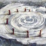 Es beginnt oder endet  #04, Asphalt, Acryl, Wachs, Ölkreide, Leinwand, 80 x 120 cm