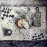 Stilleben #02, Asphalt, Acryl, Wachs, Ölkreide, Leinwand, 100 x 120 cm