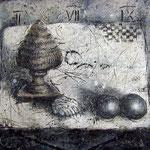 Stilleben #03, Asphalt, Acryl, Wachs, Ölkreide, Leinwand, 80 x 100 cm