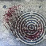 Sein - gespiegelt im Labyrinth #02, Asphalt, Acryl, Wachs, Ölkreide, Baumwollfaden, Leinwand, 100 x 120 cm