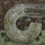 Zeiträume #09, Asphalt, Acryl, Wachs, Ölkreide, Leinwand, 80 x 100 cm