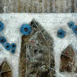 Taghaus / Nachthaus #03, Asphalt, Acryl, Wachs, Ölkreide, Leinwand, 80 x 60 x cm