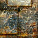 The night dances #04, Asphalt, Acryl, Wachs, Pigmente, Fotografie auf Leinwand, 115 x 75 cm
