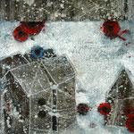Taghaus / Nachthaus #05, Asphalt, Acryl, Wachs, Ölkreide, Leinwand, 80 x 60 x cm