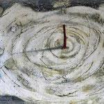 Es beginnt oder endet  #01, Asphalt, Acryl, Wachs, Ölkreide, Leinwand, 80 x 120 cm