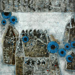 Taghaus / Nachthaus #04, Asphalt, Acryl, Wachs, Ölkreide, Leinwand, 80 x 60 x cm