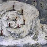 Es beginnt oder endet  #03, Asphalt, Acryl, Wachs, Ölkreide, Leinwand, 80 x 120 cm
