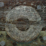 Zeiträume #08, Asphalt, Acryl, Wachs, Ölkreide, Leinwand, 80 x 100 cm
