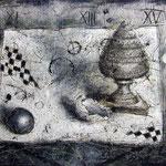 Stilleben #04, Asphalt, Acryl, Wachs, Ölkreide, Leinwand, 80 x 100 cm
