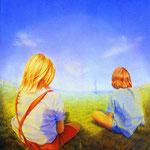 Zwei Kinder (Two Children) 50 x 40 cm 1987