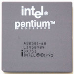 "Intel Pentium 60 MHz ceramic with ""PROCESSOR"" printing (1). This processor doesn't have the Pentium FDIV-Bug"